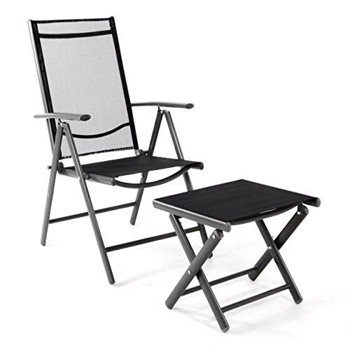 Nexos Klappstuhl Gartenstuhl Campingstuhl Liegestuhl mit Hocker – Rahmen anthrazit – Sitzmöbel Garten Terrasse Balkon – klappbarer Stuhl aus Aluminium & Kunststoff - schwarz