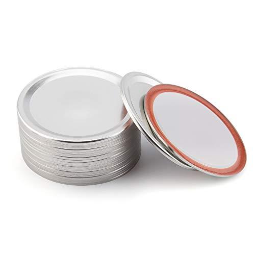 LUTER 24-teilige Einmachglasdeckel mit Weitem Mund, Blattfeste, Geteilte Einmachglaskappen aus Metall mit Silikondichtringen