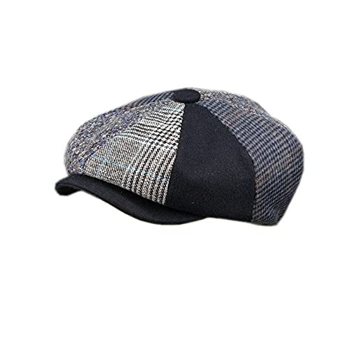 WSJQWHW Autumn Winter New Tommy Shelby Men Newsboy Hats Vintage Splicing Octagon Cap Women Casual Berets Gatsby Flat Hat (Color : Black, Size : L 60CM)