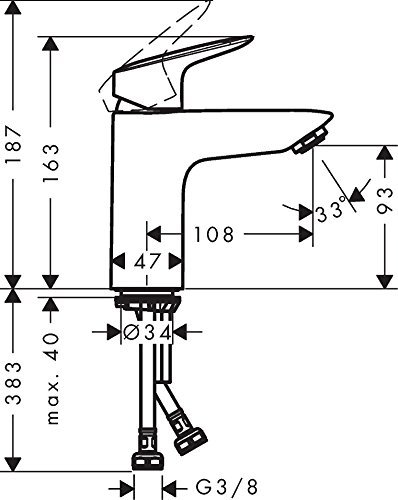 Hansgrohe – Waschtischarmatur, Push-Open Ablaufgarnitur, Chrom, Serie Logis 100 - 6