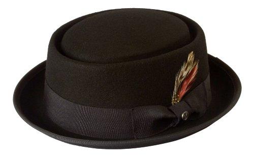 Chapeau pork-pie style Heisenberg Walter White de Breaking Bad 100 % feutre de laine - Noir - L 59 cm