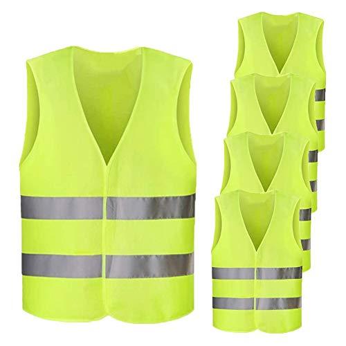 Chalecos de Seguridad, Chaleco Reflectante Paquete de 5 Chalecos Lavables 360 Grados Reflectantes para Hombres y Mujeres Jogging al Aire Libre, Ciclismo, Caminar(Amarillo)