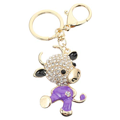 SOIMISS 3D Funkelnden Charme Tierkreis Ochsen Schlüsselbund Strass Kuh Schlüsselring Bling Kristall Schmuck Tasche Ornament