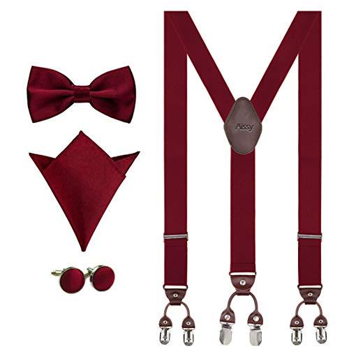 Aissy Hosenträger für Herren 3.5cm Y-Form Elastisch und Längenverstellbar Hosenträger Breit mit 6 starken Clips und Fliege & Einsteckuch Weinrots