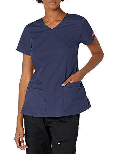 Dickies EDS Signature Damen Top mit V-Ausschnitt und Mehreren aufgesetzten Taschen Jr - Blau - X-Groß