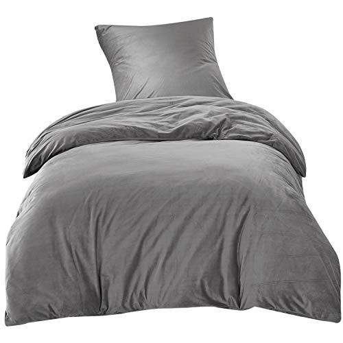 Winter Bettwäsche 135x200cm Grau Flauschig Warm mit Cashmere Touch 2-teilig Bettbezug Kissenbezug Luxus Solid Velvet Crystal