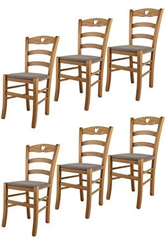 Tommychairs - Set 6 sedie modello Cuore per cucina bar e sala da pranzo, robusta struttura in Legno di faggio color rovere e seduta rivestita in tessuto colore capriolo