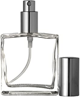 Riverrun Large Perfume Cologne Atomizer Empty Refillable Glass Bottle Fine Mist Silver Sprayer 3.4 oz 100ml (1 Bottle)