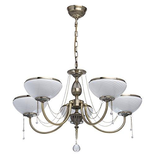 MW-Light 347019105 Klassischer Kronleuchter Antik Messingfarbiges Metall Weißes Glas Matt 5 Flammig x 60W E27