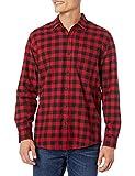 Amazon Essentials - Camisa de franela a cuadros de manga larga y ajuste regular para hombre, Rojo (Red Buffalo Plaid), US S (EU S)