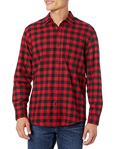 Amazon Essentials Men's Camisa de franela a cuadros de manga larga y corte regular Red Buffalo PlaidMediano