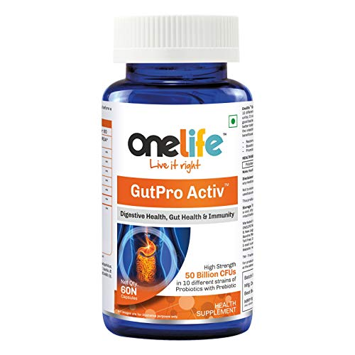 Onelife GutPro Activ™ with 50 Billion CFU in 10 Different Strains of Natural Probiotics with Prebiotic Supports Digestive Health, Gut Health & Immunity - 60 Veg Capsules