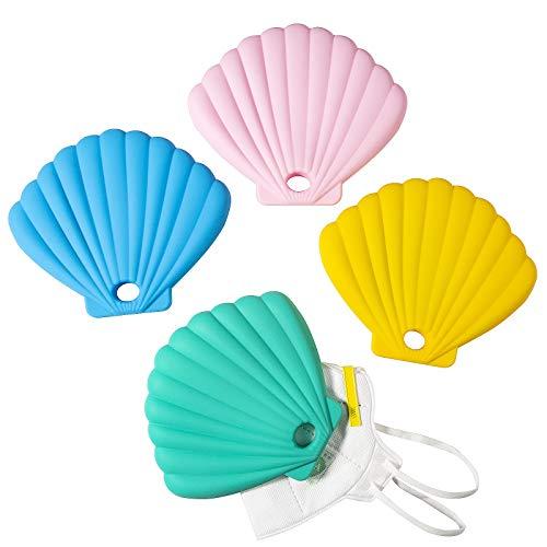 XiYee Tragbare Masken Aufbewahrungstasche, 4 Stück Masken Aufbewahrungsbox, Wiederverwendbare Tragbare Silikon-Aufbewahrungsboxen, Staubmasken-Aufbewahrungsbox zur Vermeidung