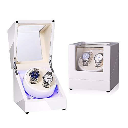 ZXZXZX Blanco Caja Enrolladora de Reloj Automática, Giratoria para Relojes de Pulsera Watch Winder Superficie Pintura de Piano Mecánico Winder Silenciosa por Batería o Adaptador de AC