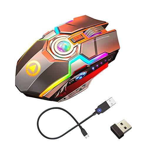TIAS Kabellose Gaming-Maus, leiser Laser, optisch, 2,4 GHz, Gaming, USB, wiederaufladbar