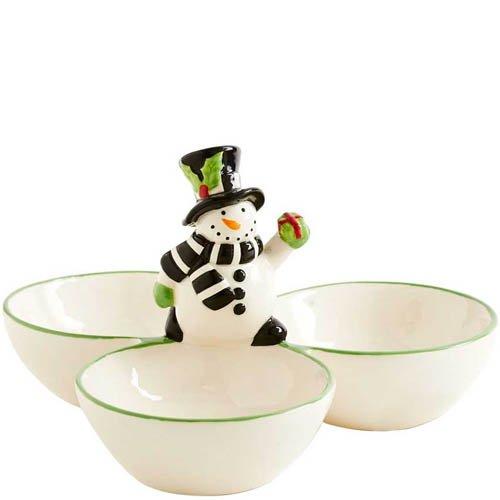 K&K Interiors 8 Inch Snowman 3 Bowl Dish