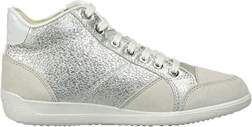 Geox Damen D Myria C Hohe Sneaker, Silber (Silver/Off Wht C0628), 37 EU