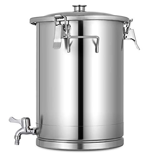 BuoQua 15L Edelstahl Weinfass Edelstahl Fermenter mit Wasserhahn Wein zum Lagern von Wein und Bier Metall Edelstahl Verschlossenes Fass