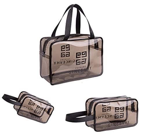 Pochette Trasparente Trucchi 3 Pezzi,Borsa cosmetica transprent spesso di alta qualità, Borsa da trucco impermeabile Cosmetici con Zip Beauty Case da Borsa da Viaggio Donna Uomo Wash Bags Organizer