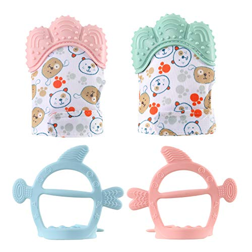 Caudblor 4PCS Beißring Baby Silikon zum zahnen Baby Handschuhe Fäustlinge Baby Gloves Bär Tier Cartoon Teething