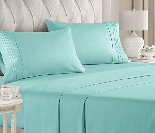 Queen Size Sheet Set – 4 Piece Set – Hotel Luxury Bed Sheets – Extra Soft – Deep Pockets – Easy Fit – Breathable & Cooling – Wrinkle Free – Comfy – Spa Blue Bed Sheets – Queens Sheets – 4 PC
