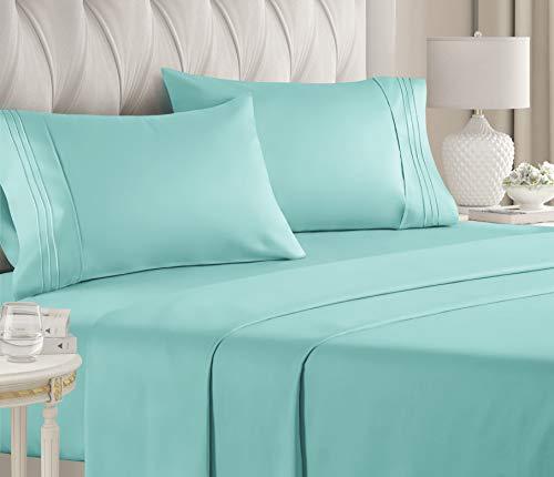 CGK Bettwäsche-Set für Queen-Size-Betten, Bettlaken, Spannbetttuch, 4 Kissenbezüge, extra tiefe Taschen, Mikrofaser, weicher als ägyptische Baumwolle, luxuriös Twin XL Blau (Spa Blue)