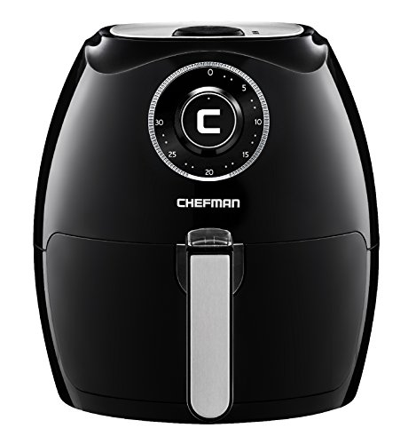 Chefman 5.5 Liter Air Fryer w/ 30 Minute Timer, Auto Shut Off & Dishwasher Safe Basket, Extra Large Family Size Oil Free Airfryer, Black