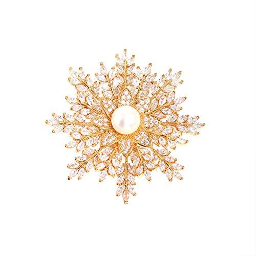 ZPEE Broche de Mujer Copo de Nieve de la Broche de Perlas de Agua Dulce de Invierno Bufanda Broche de la Flor del Pin de la Mujer y Madre Broche de Tela para Mujer de Ropa