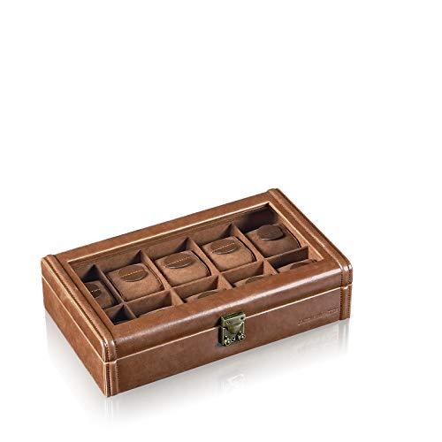 DESIGNHÜTTE® Uhrenbox/Uhrenaufbewahrung Camel 10 Braun mit Sichtfenster für 10 Armbanduhren