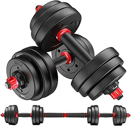 MOJEER ダンベル 可変式【最新進化版・3in1 ダブルナット】10kg 20kg 30kg 40kg 2個セット バーベルにもなる ダンベル 無臭素材 静音XK. (10kg×2個セット/RED)