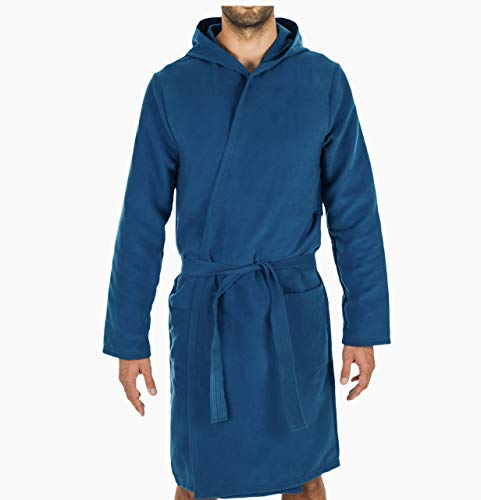 Intimitaly® Accappatoio Microfibra Uomo e Donna Unisex con Cappuccio Pratico Leggero E Confortevole (Blu, x_l)