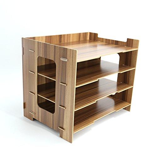 LoKauf Ablageboxen Holz, 4 Schicht Briefablage Ablagesystem Büro Dokumentenablage Schreibtisch Tisch Organizer