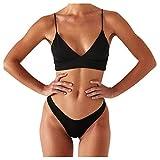 Snakell Bikini Mujer Conjuntos Brasileño Sexy Tanga Mujer Playa Ropa de Baño Traje de Baño Sexy Bañador Push-Up de Baño Tops y Braguitas 2 Piezas Verano Moda Ropa de Playa Color Sólido