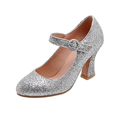 JOYOTER Zapatos de novia de moda para mujer, con hebilla de tacón...