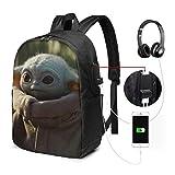 Yoda bébé Sac à Dos pour Ordinateur Portable avec Port de Chargement USB/Sacs à Dos imperméables décontractés pour l'école de Voyage de Travail