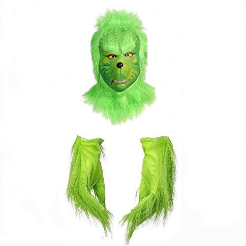 Disfraz de navidad unisexAccesorios para disfraces de GrinchRopa para adultosDisfraz Divertido NovedadIncluyendo Máscara Guantes Cinturón Pantalón Top Zapatos Cubierta Green Monster Props