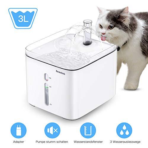 Nemobub Katzen Trinkbrunnen, Wasserspender für Hunde, Upgrade 3L Hochleistungs 3 Wasserauslasswege automatischer Mute Haustiere Trinkbrunnen mit Filter, USB und Adapter Laden