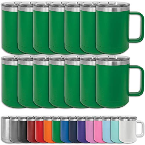 Clear Water Home Goods - (Bulk Pack of 12) - 15 oz Double Wall Coffee Mug with Lid and Handle, Double Insulated Stainless Steel Travel Tumbler Cup - Powder Coated - Green