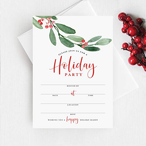 Bliss Collections Holiday Party Invitations with Envelopes, 25 Holiday Season 5x7 Fill-In Invites with 25 Envelopes for Winter Celebrations, Christmas, Hanukkah, Kwanzaa or New Year's Parties