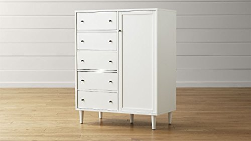 Aprodz Mango Wood Caibo Chest of 5 Drawers & 1 Door Storage Cabinet for Living Room   Wooden Sideboard   White Finish