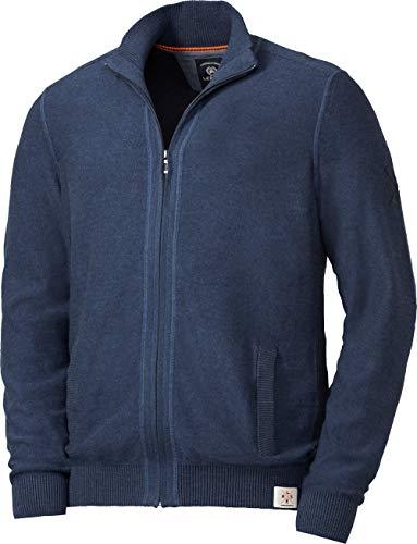 LERROS Herren Zip-Jacke, Strickjacke für Männer, aus 100% Baumwolle, Stehkragen, Melange-Garn, Reißverschluss, in Dunkelblau