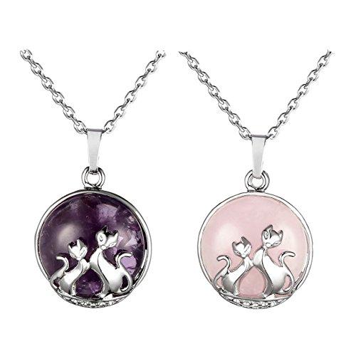 Jovivi Amethyst Pendant Rose Quartz Necklace Natural Crystal Gemstone Healing Reiki Chakra Cute Cat Jewellery Gifts for Women Girl