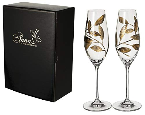 Champagne Glasses Set of 2 - Elegant Hand Painted Golden Leaves Decor - in Satin Lined Gift Box - Luxury European Design (Gold)
