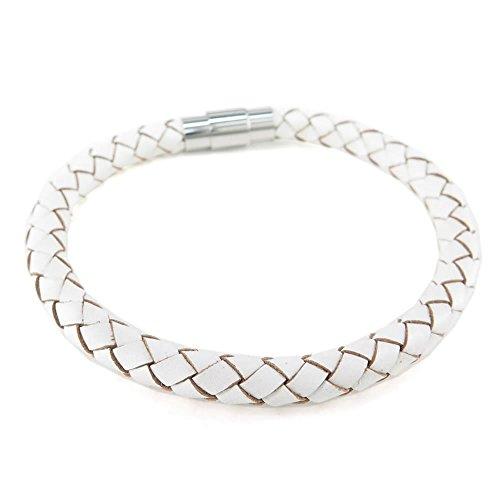 KONOV Jewellery Herren Damen Leder Armband, 6mm geflochten Armreif, Magnetverschluss, Weiß (mit Geschenk Tüte)