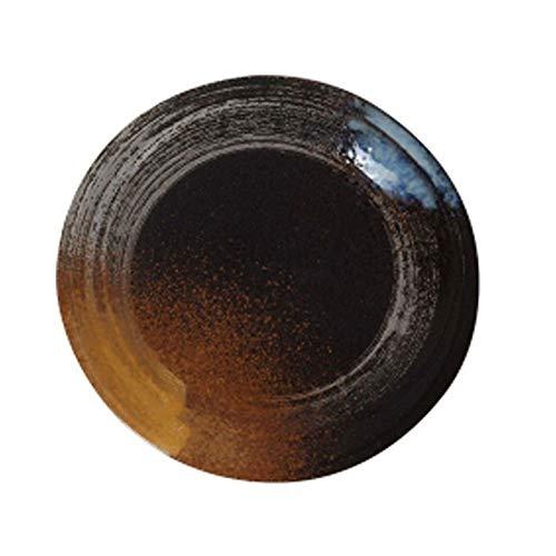 Plato Hondo Vajilla Sets, 8/9 pulgadas Círculo de Oro placa plana, cerámica estilo japonés vajilla, el Hotel Hogar superficial Placa, Placa pintada a mano creativa Vajilla (tamaño : 8inch)