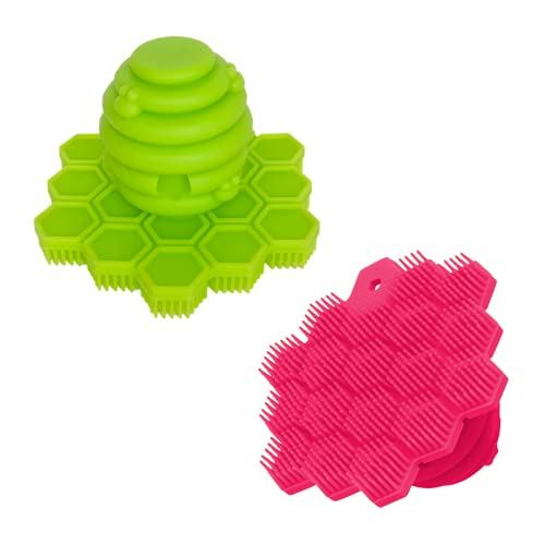 Award-Winning ScrubBEE – 100% Silicone Scrubber for Children – Promotes Effective Independent Hand & Body Washing – Easy Grip Handle – Ultra Soft Bristles – Solid Core – BPA Free (Pink/Green 2-Pack)