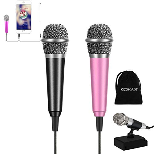 Mini microphone Karaoke Microphone ASMR Microphone Mic,Mini microphone for singing, recording and listening to songs,Mic for iPhone/Android/PC (Black&Pink)