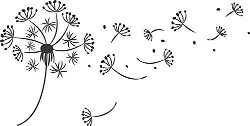 Wandtattoo schönes Motiv, Wandtattoo für Schlafzimmer Geschenkidee zum Geburtstag, Wallprints hübsches Design, Glitzer Wandtattoo Pusteblume / 79x40cm / dunkelgrau