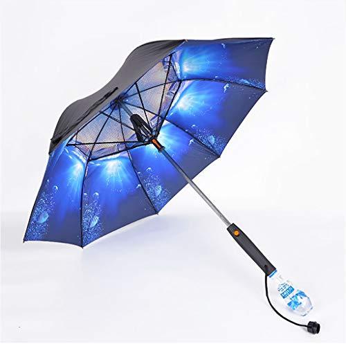 Sombrillas Paraguas plegable, cielo estrellado, ventilador incorporado y equipo de aspersión, mantener fresca la protección solar, gran barra de actualización, paraguas de golf a prueba de viento, ven