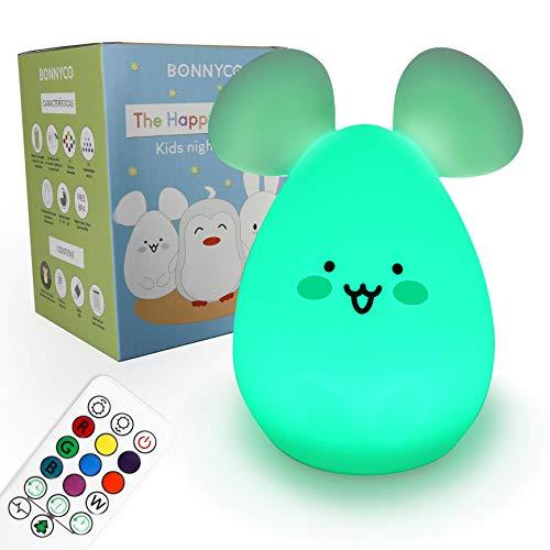 Nachtlicht Baby mit Fernbedienung und Berührungssensor 9 Farben - BONNYCO | Nachtlicht Kind mit Timer | Nachttischlampe Kinderzimmer Silikon 100% BPA-Frei | Led Baby Night Light Süße Geschenke (Maus)